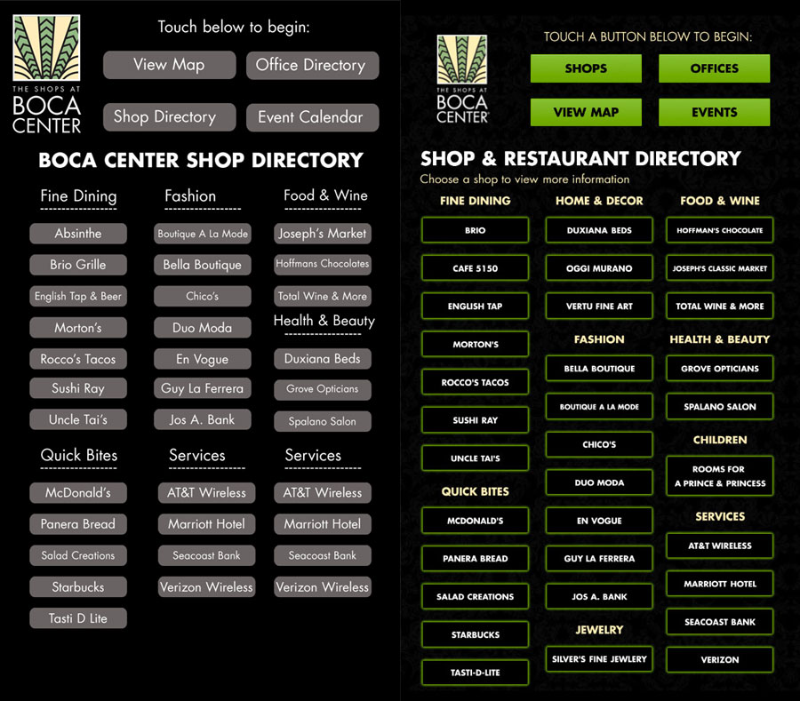 Main Directory Page of the Kiosk Software